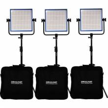 Dracast LED1000 Pro Bicolor 3-Light Kit With Gold Mount Battery Plates And Stands