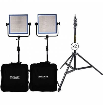 Dracast LED1000 Pro Daylight 2-Light Kit With Gold Mount Battery Plates And Stands