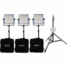 Dracast LED1000 Pro Daylight 3-Light Kit With V-Mount Battery Plates And Stands