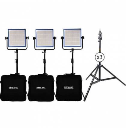 Dracast LED1000 Pro Daylight 3-Light Kit With Gold Mount Battery Plates And Stands