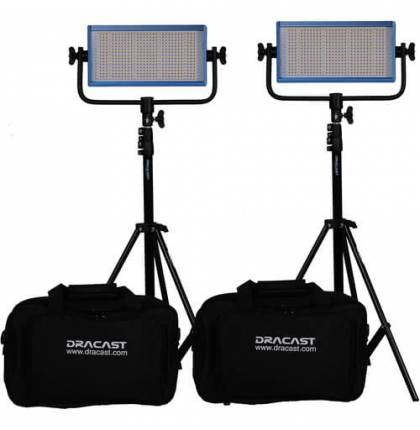 Dracast LED500 Pro Bicolor 2-Light Kit With Gold-Mount Battery Plates And Stands