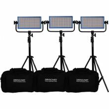 Dracast LED500 Pro Daylight 3-Light Kit With Gold-Mount Battery Plates And Stands