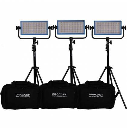 Dracast LED500 Pro Bicolor 3-Light Kit With V-Mount Battery Plates And Stands