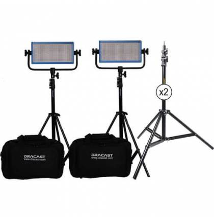 Dracast LED500 Pro Daylight 2-Light Kit With Gold-Mount Battery Plates And Stands